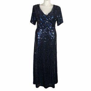 Calvin Klein Blue Sequin Floor Length Formal Gown